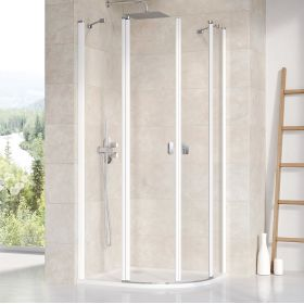 Pusapvalė dušo kabina Ravak Chrome, CSKK4-90 balta+Transparent