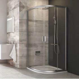 Pusapvalė dušo kabina Ravak Blix, BLCP4-80, satinas+stiklas Transparent