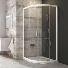 Pusapvalė dušo kabina Ravak Blix, BLCP4-90, balta+stiklas Transparent