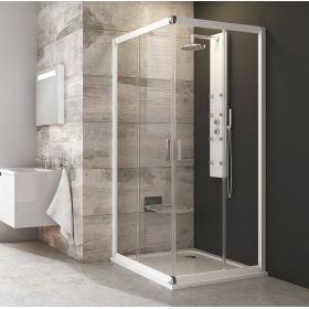 Kvadratinė dušo kabina Ravak Blix, BLRV2-90, balta+stiklas Transparent