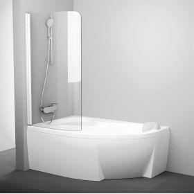 Vonios sienelė Ravak Rosa, CVSK1 160/170, L balta+stiklas Transparent
