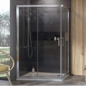 Dušo kabina Ravak 10°, 10AP4-120x90, satinas+Transparent (dvi sienelės)