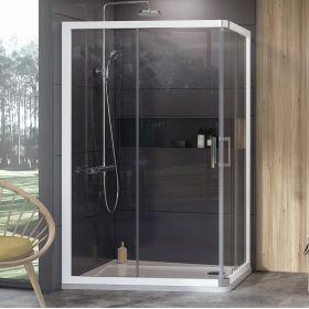 Dušo kabina Ravak 10°, 10AP4-120x90, balta+Transparent (dvi sienelės)