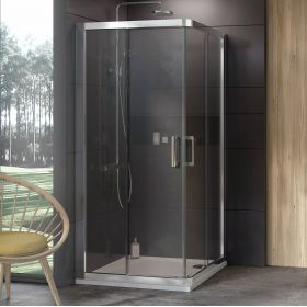 Dušo kabina Ravak 10°, 10RV2-90, satinas+Transparent (dvi sienelės)