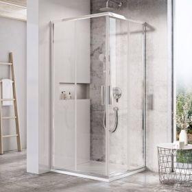 Kvadratinė dušo kabina Ravak Blix Slim, BLSRV2-90 blizgus +Transparent