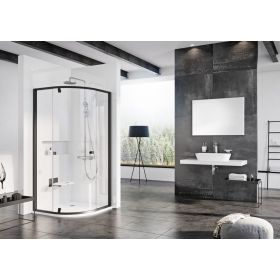 Pusapvalė dušo kabina Ravak Pivot, PSKK3-90, juoda+Transparent