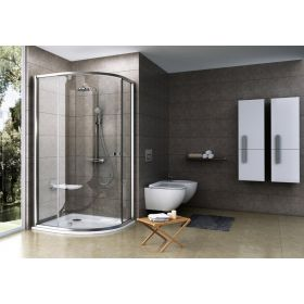 Pusapvalė dušo kabina Ravak Pivot, PSKK3-100, satinas+stiklas Transparent