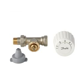 Komplektas: RTL mazgas Danfoss FJVR + termostatinė galva FJVR, 10-50°C, KVS 0.73, DN15, tiesus