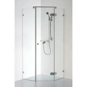 Berėmė penkiakampė dušo kabina Baltijos Brasta, Nida 90x90x190 skaidrus stiklas