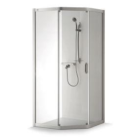 Penkiakampė dušo kabina Baltijos Brasta, Vaiva 90x80x1935, pilkas profilis, skaidrus stiklas