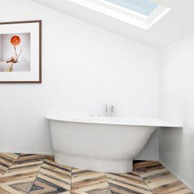 Akmens masės vonia Vispool Trevi, S, kairės pusės, balta