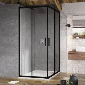 Kvadratinė dušo kabina Ravak Blix Slim, BLSRV2-80 juoda+ stiklas Transparent