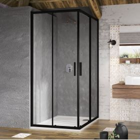 Kvadratinė dušo kabina Ravak Blix Slim, BLSRV2-80 juoda+ stiklasTransparent