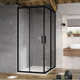 Kvadratinė dušo kabina Ravak Blix Slim, BLSRV2-90 juoda+stiklas Transparent