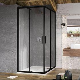 Kvadratinė dušo kabina Ravak Blix Slim, BLSRV2-90 juoda+stiklasTransparent