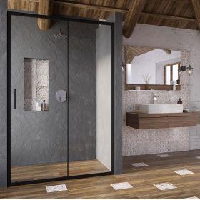 Stumdomos dušo durys Ravak Blix Slim, BLSDP2-110 juoda+stiklas Transparent