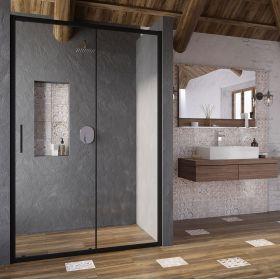 Stumdomos dušo durys Ravak Blix Slim, BLSDP2-120 juoda+stiklas Transparent