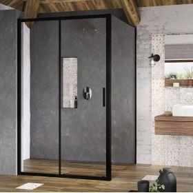 Stacionari sienelė Ravak Blix Slim, BLSPS-80 juoda+stiklas Transparent