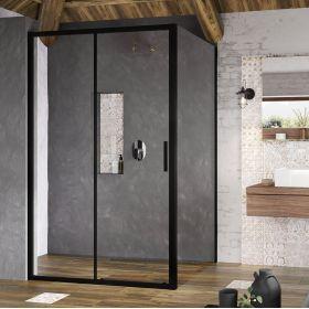 Stacionari sienelė Ravak Blix Slim, BLSPS-90 juoda+stiklas Transparent
