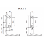 Radiatorius PURMO RCV 21s 200-, 700, pajungimas apačioje (be laikiklių)