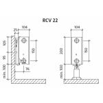 Radiatorius PURMO RCV 22 200-, 2300, pajungimas apačioje (be laikiklių)
