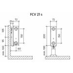 Radiatorius PURMO FCV 21s 200-, 1400, pajungimas apačioje (be laikiklių)