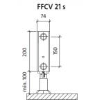 Radiatorius PURMO FFCV 21s 200-, 2300, pajungimas apačioje (be laikiklių)