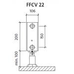 Radiatorius PURMO FFCV 22 200-, 1100, pajungimas apačioje (be laikiklių)