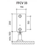 Radiatorius PURMO FFCV 33 200-, 1600, pajungimas apačioje (be laikiklių)