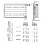 Radiatorius PURMO Kos H 20, 400-750, pajungimas apačioje