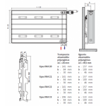 Radiatorius PURMO Kos H 20, 750-1350, pajungimas apačioje