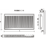 Radiatorius Purmo Compact C 11, 500-2300, pajungimas šone