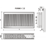Radiatorius Purmo Compact C 22, 600-700, pajungimas šone