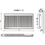 Radiatorius Purmo Compact C 11, 500-1100, pajungimas šone