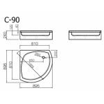 Akmens masės dušo padėklas Vispool, C-90 (R550)