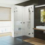 Kvadratinė dušo kabina Ravak Brilliant, BSRV4-80 chromas+stiklas Transparent