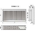 Radiatorius Purmo Compact C 22, 500-1800, pajungimas šone