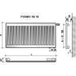 Radiatorius PURMO HV 10, 500-600, pajungimas apačioje