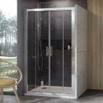 Stumdomos dušo durys Ravak 10°, 10DP4-130, satinas+Transparent