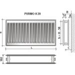 Radiatorius PURMO H 20, 500-900, pajungimas šone