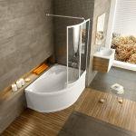 Vonios sienelė Ravak Rosa, VSK2 140, R balta+stiklas Transparent