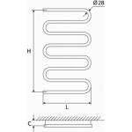 Vandeninis rankšluosčių džiovintuvas-gyvatukas Elonika, nerūdijančio plieno, EN 858 S