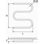 Vandeninis rankšluosčių džiovintuvas-gyvatukas Elonika, nerūdijančio plieno, EN 400 S