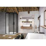 Pusapvalė dušo kabina Ravak Blix Slim, BLSCP4-80 juoda+stiklas Transparent