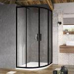 Pusapvalė dušo kabina Ravak Blix Slim, BLSCP4-90 juoda+stiklas Transparent