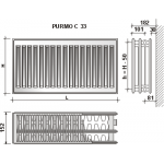 Radiatorius Purmo Compact C 33, 300-500, pajungimas šone