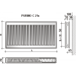 Radiatorius Purmo Compact C 21s, 300-700, pajungimas šone