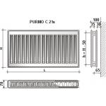 Radiatorius Purmo Compact C 21s, 900-1000, pajungimas šone