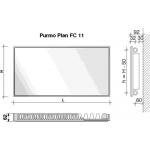 Radiatorius PURMO FC 11, 500-1000, pajungimas šone