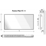 Radiatorius PURMO FC 11, 500-1200, pajungimas šone